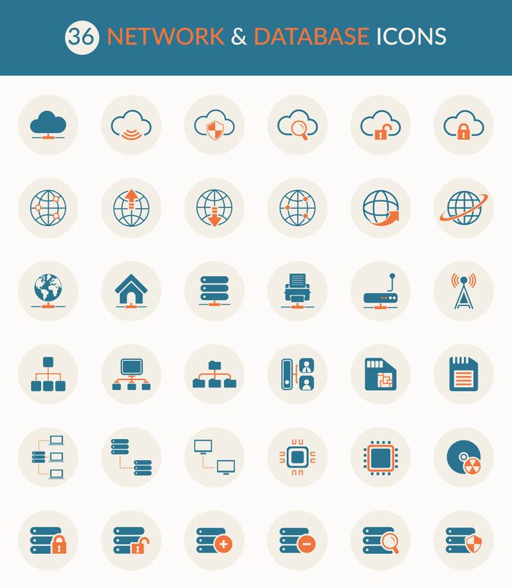 Free Icons: 36 Network and Database Icons (AI, EPS, PSD)
