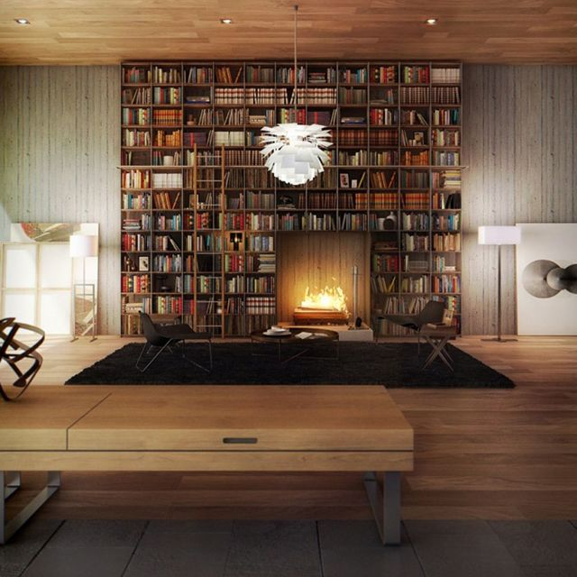 bookcase with built-in fireplace: Bookshelves, Living Rooms, Idea, Home Libraries, Books Shelves, Fireplaces Wall, Wood Ceilings, Fireplaces Surroundings, Bookca