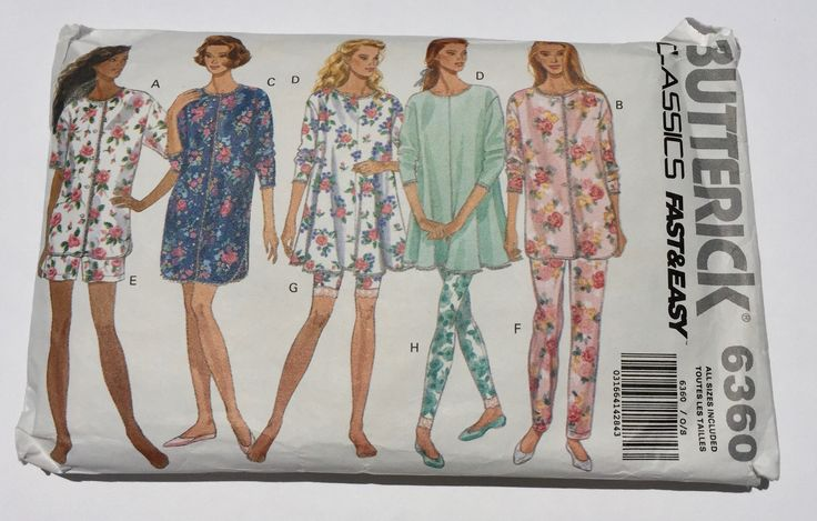 Vintage  Butterick Sewing Pattern 6360, 1992 Pattern, Misses and Petite Pajamas Top Pants Shorts and leggings Nightshirt, Quiltsy Destash by LawsonCreations on Etsy