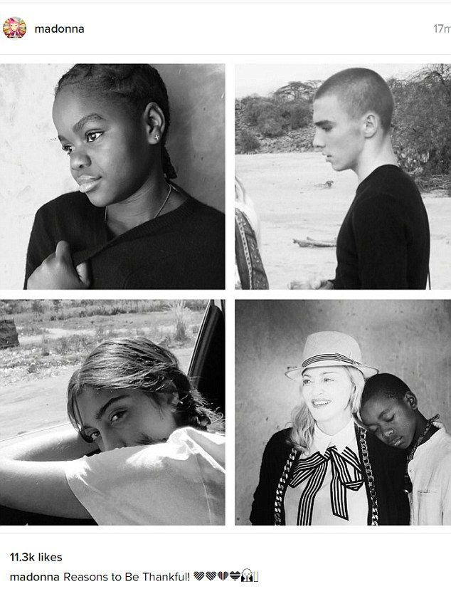 Reasons to be thankful: Madonna shared a collage of her children Mercy, Rocco, Lourdes and...