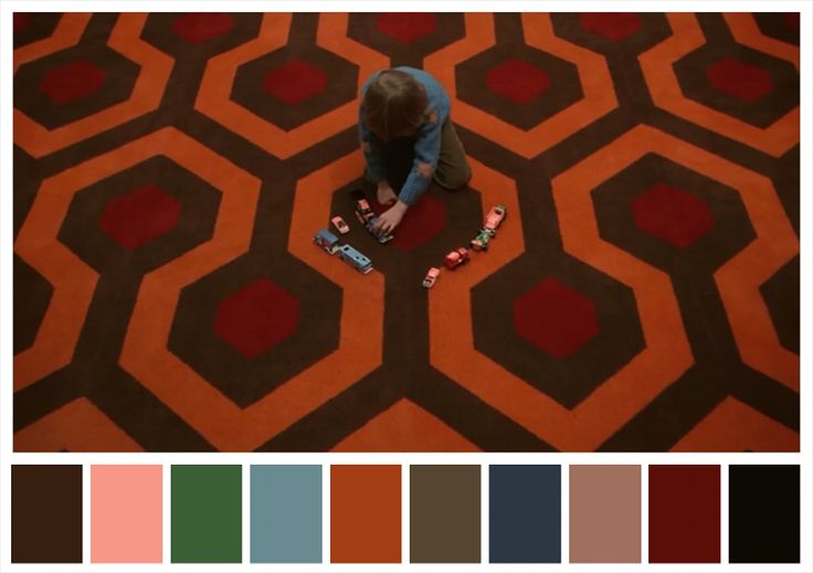 Color palette of Stanley Kubrick's movie The Shining. #stanleykubrick #theshining #colorpalettes