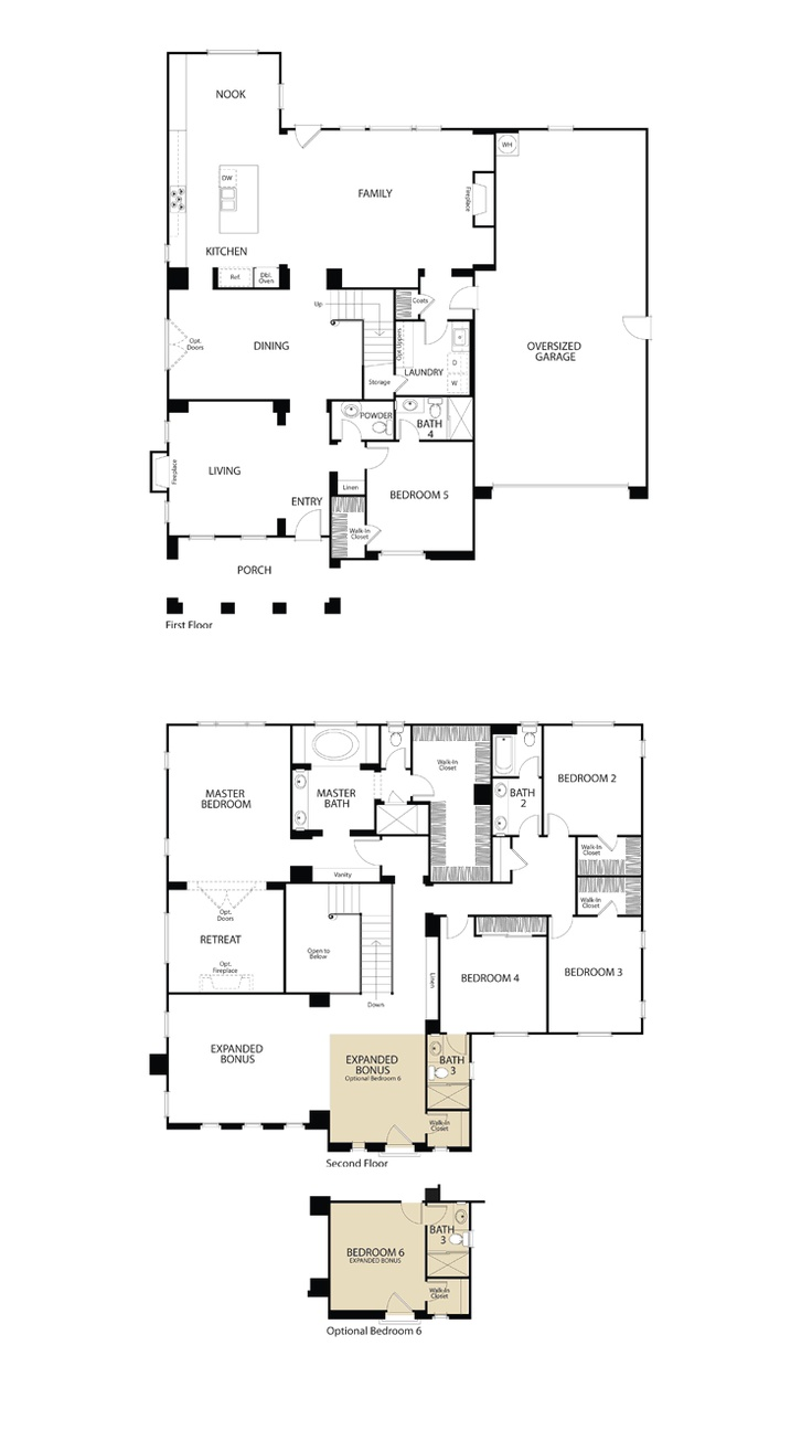 16 best floorplans we love images on pinterest southern san diego new homes serenity residence 2 floorplan square feet 5 beds baths oversized 3 car garage optional bedroom in lieu of expanded bonus room retreat