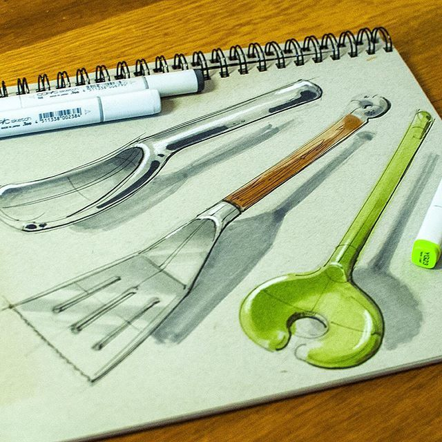 Still thinking within the kitchen, this time I've used a toned  grey sketchbook…