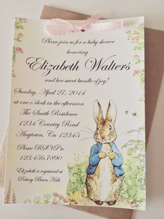 Peter Rabbit Beatrix Potter Baby Shower or Birthday Party Printable or Printed Invitation on Etsy, $10.00