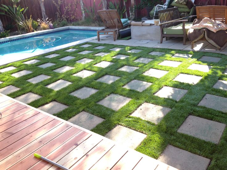 Artificial grass with pavers home diy pinterest for Diy backyard pool landscaping