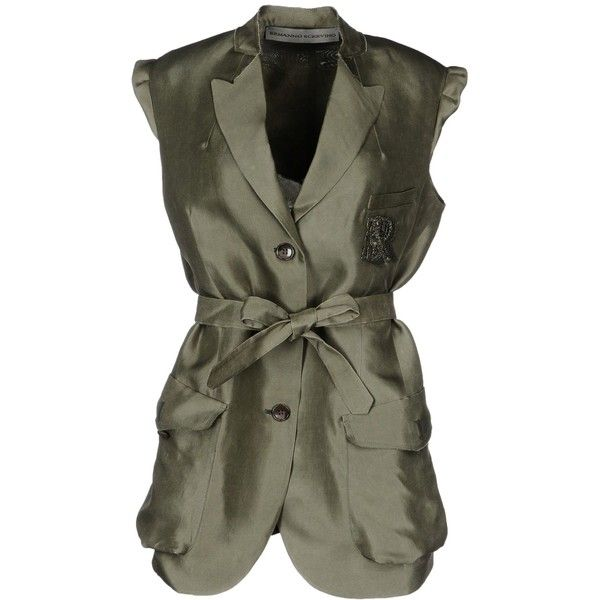 Ermanno Scervino Blazer (£590) ❤ liked on Polyvore featuring outerwear, jackets, blazers, military green, three button blazer, 3 button blazer, olive green blazer, army green blazer and short-sleeve blazers