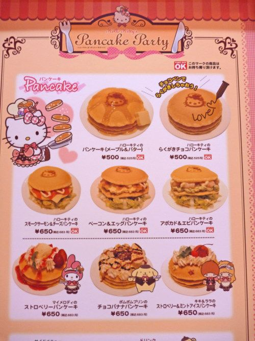 Hello Kitty Cafe Pancake PartyMenu