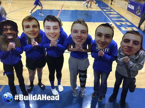 Fun high school basketball senior night ideas! Big head cutouts for the team by Build-A-Head