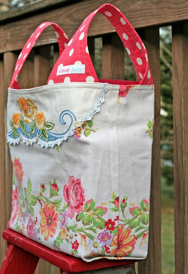 Shabby Vintage Repurposed Tablecloth and Doily  .. Flea Market or Grocery Shopping Market Tote Bag  #michellepatterns #market tote #grocery bag