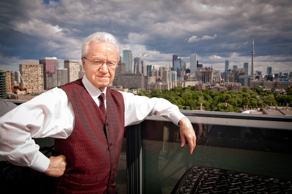Check out the view of Toronto! Joe Gomes, bartender for 50 years at the Park Hyatt Roof Lounge.
