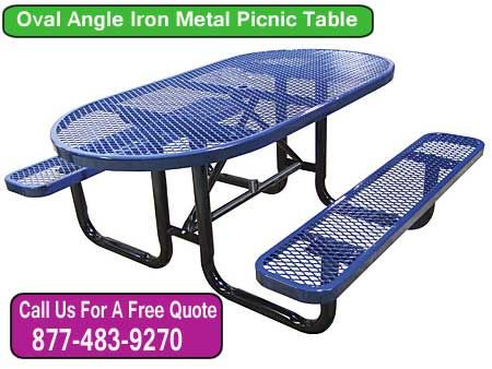 Our quality commercial grade perforated oval angle iron picnic table makes an attractive addition to any outdoor picnic area.