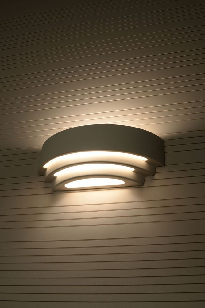 contemporary indoor wall light up down curved white on wall sconces id=97616