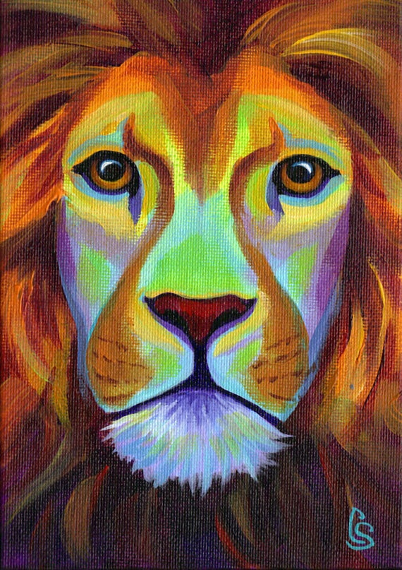 African Lion  5 x 7 Original Painting  by by CorinaStMartinArt, $45.00 @Victoria Brown De Alba Haro have Alexie try this :)
