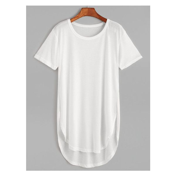 White Curved Hem High Low Long T-Shirt (7.86 CAD) ❤ liked on Polyvore featuring tops, t-shirts, long length t shirts, rounded hem t shirt, white t shirt, long white t shirt and white tee