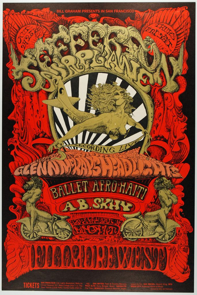 Psychedelic Art Exchange | Concert Poster Store — (BG-142) Jefferson Airplane, Fillmore West *Mint 97*