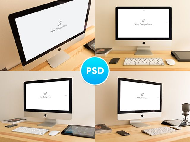 A small set of iMac realistic mockups created with Photoshop smart objects. Free PSD released by Alex Byrne.