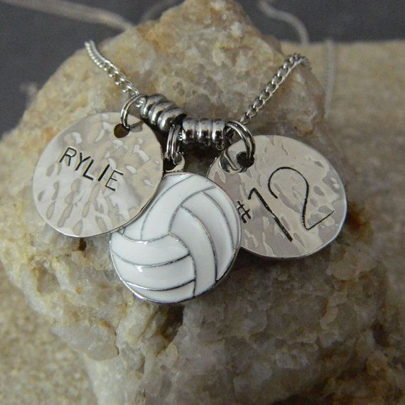 Personalized Name and Numer Volleyball Necklace