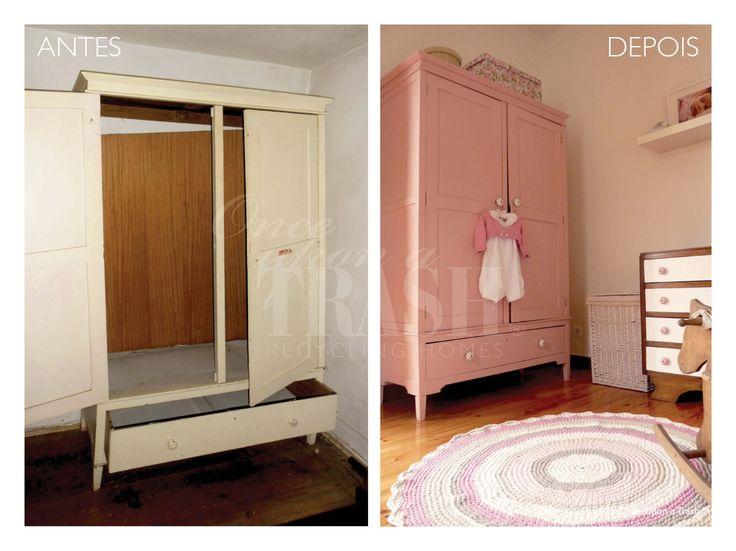 ARMÁRIO AREIA * Before & After * By Once Upon a Trash. Era preciso um armário para completar a decoração de um quarto de bebé e este armário da Areia, esquecido numa casa desabitada, apesar de muito desconjuntado, pareceu-nos uma boa solução. Descobrimos ao longo do processo de transformação que teria sido cor de rosa, com as habituais flores pintadas dos móveis alentejanos. Devolvemos-lhe a cor original e substituímos os puxadores por outros, em porcelana branca.