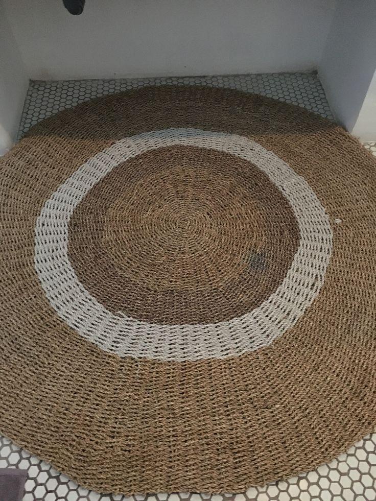 Natural Rattan Round Carpets Bali, Round Straw Rattan Rug