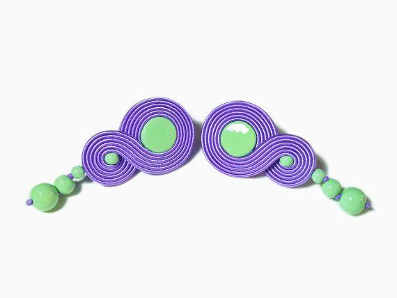 Infinity Lavender Stud Earring Lilac Soutache by RenaSoutacheArt