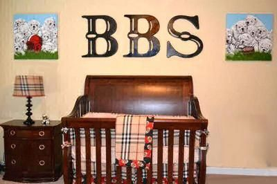 Football sports theme nursery for a baby boy with a Burberry plaid crib bedding set and wooden wall letters by Murals & Things by Jamie: I can only imagine the smile on Dad's face when he saw this baby boy sports nursery theme decorated in Burberry plaid or Burberry like plaid.  Since I