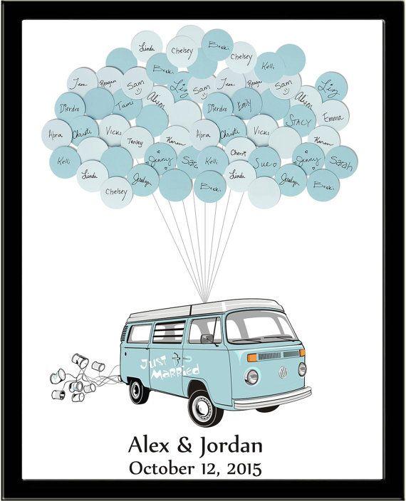 VW Van Wedding Guest Book Print 20 Balloons by SayAnythingDesign
