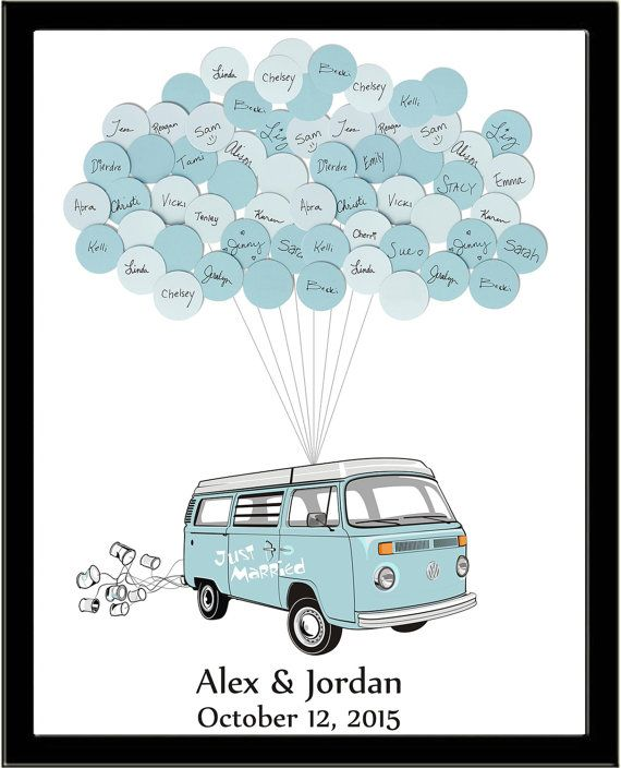 VW Van Wedding Guest Book Print 20 Balloons by SayAnythingDesign