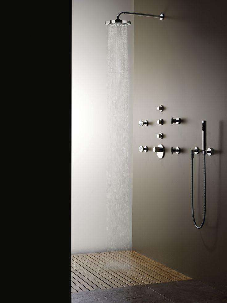"Dornbracht Meta.02 Rain shower with wall connection, 11 3/4"" diameter, #28579970, $1110 Dornbracht Meta.02 Hand shower set #27806625, $318"