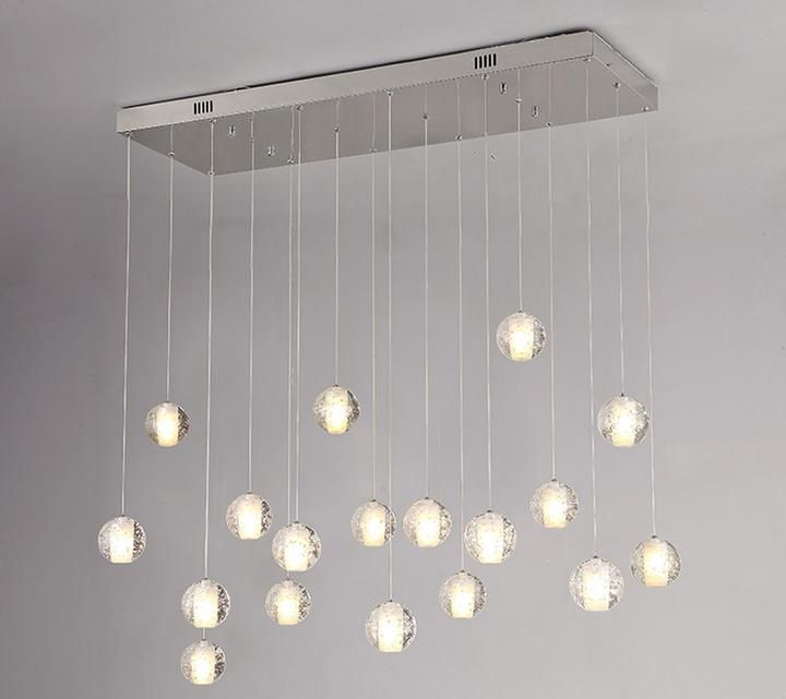 Crystal bubbles ball chandelier modern hanging glass pendant lights for staircase
