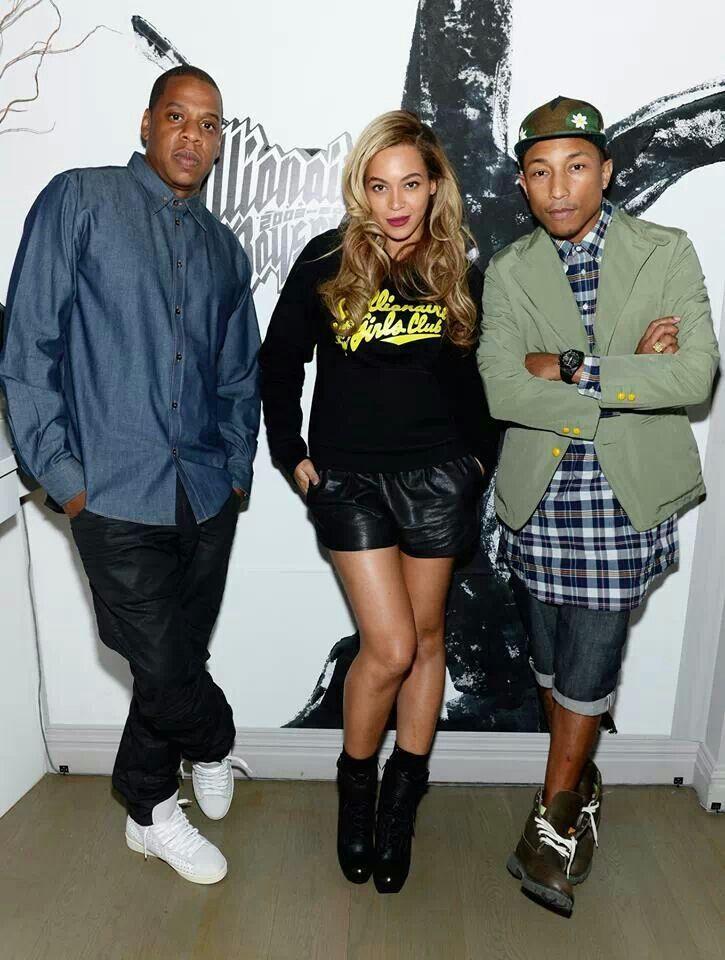 Jay, B, and Pharrell | Beyonce and jay z, Beyonce, Beyonce