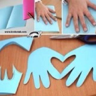 LHFHG-unit 17, day 2--alternative project for art.  Hearts handprints