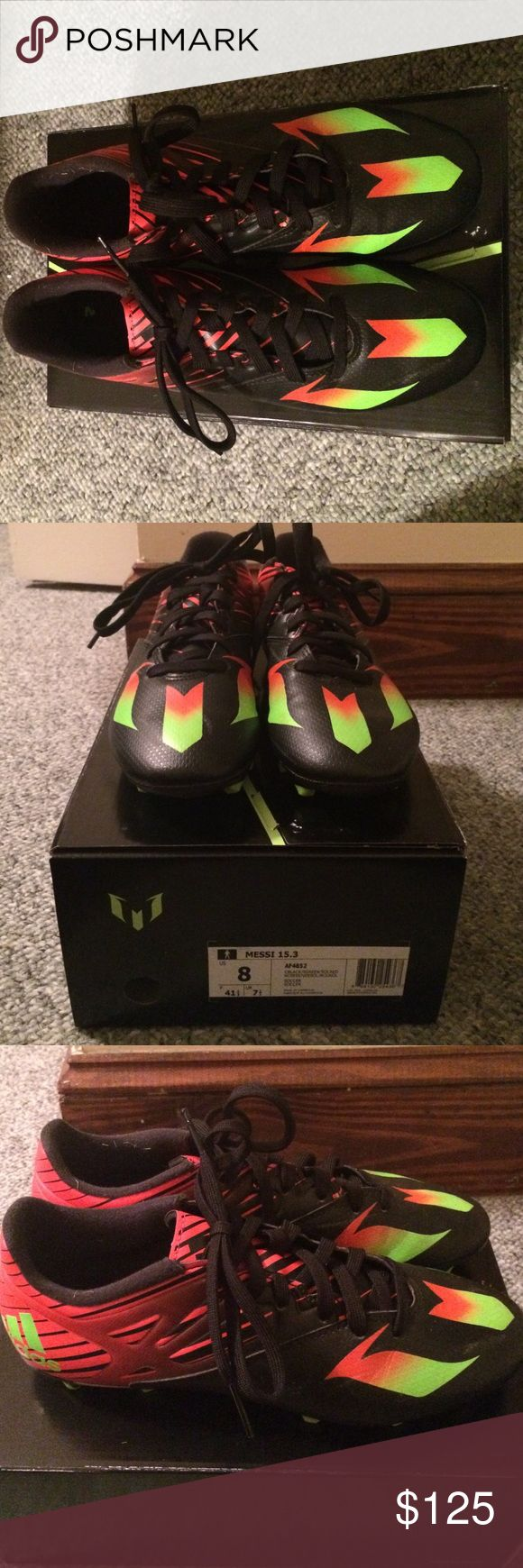 Adidas Messi 15.3 Soccer Cleats Barely worn. Got them for Christmas but was out due to knee problems then had surgery. Worn 5 times. Recently got new ones so I no longer need these. adidas Shoes Athletic Shoes