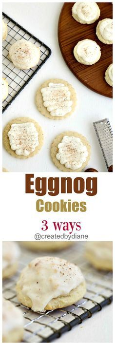 rum extract and nutmeg are key ingredients to the delicious flavor of these eggnog cookies, so is the cream cheese. These really taste like eggnog!