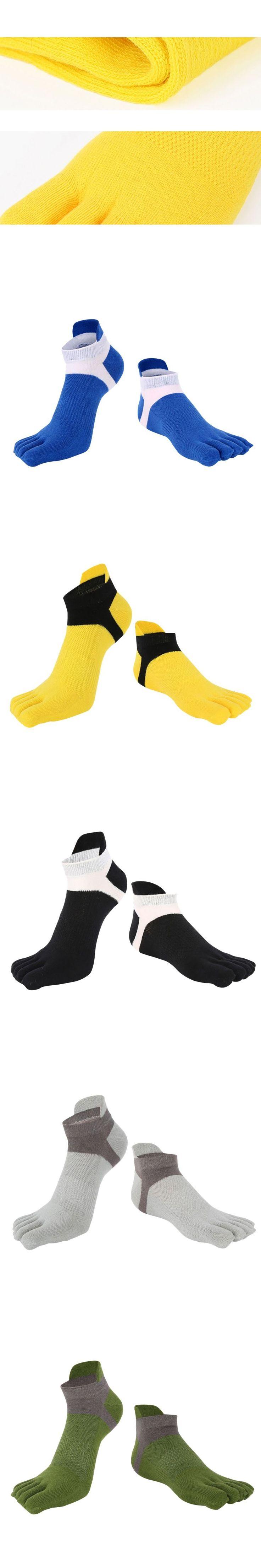 New Men's Cotton Five Finger Toe Socks Deportes Short Tube Mesh Finger Meias Polyester Sock Correr Elasticity Sock W1