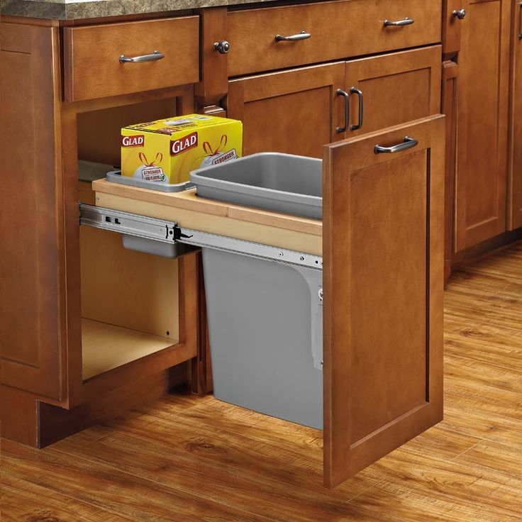 Rev-A-Shelf Single Trash Pullout 35 Quart W/ Soft-Close 4WCTM-12BBSCDM1  | Don't just take the trash out, take the noise out of your kitchen with these Top Mount Pullout Waste Containers with Soft-Close. |  Order Today! Shop and Save @ CabinetParts.com
