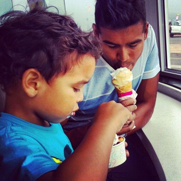 Enjoying an ice cream with my son #milkylane&co #sundaydrive #capetown