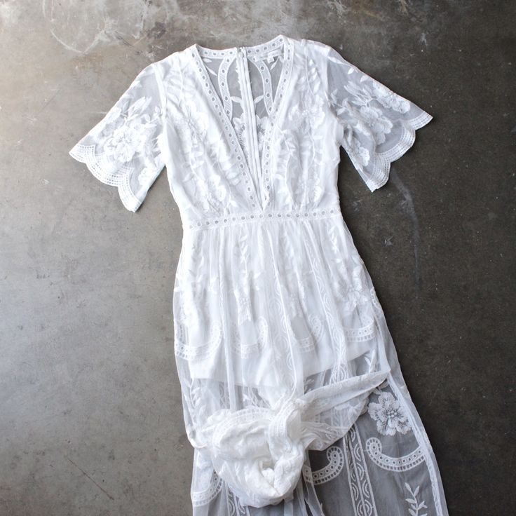 as you wish embroidered lace maxi dress (women) - white - shophearts