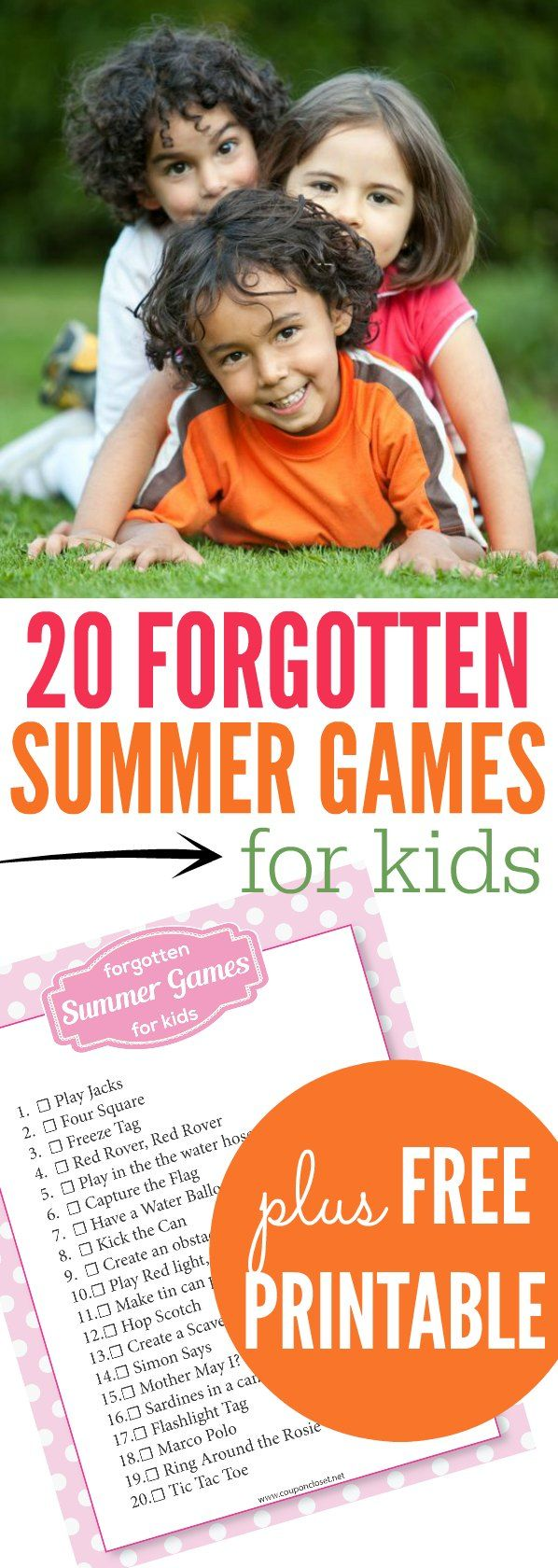 We have listed 20 forgotten summer games for kids. Some are fun outdoor games for kids while others are indoor games for kids for those rainy days.