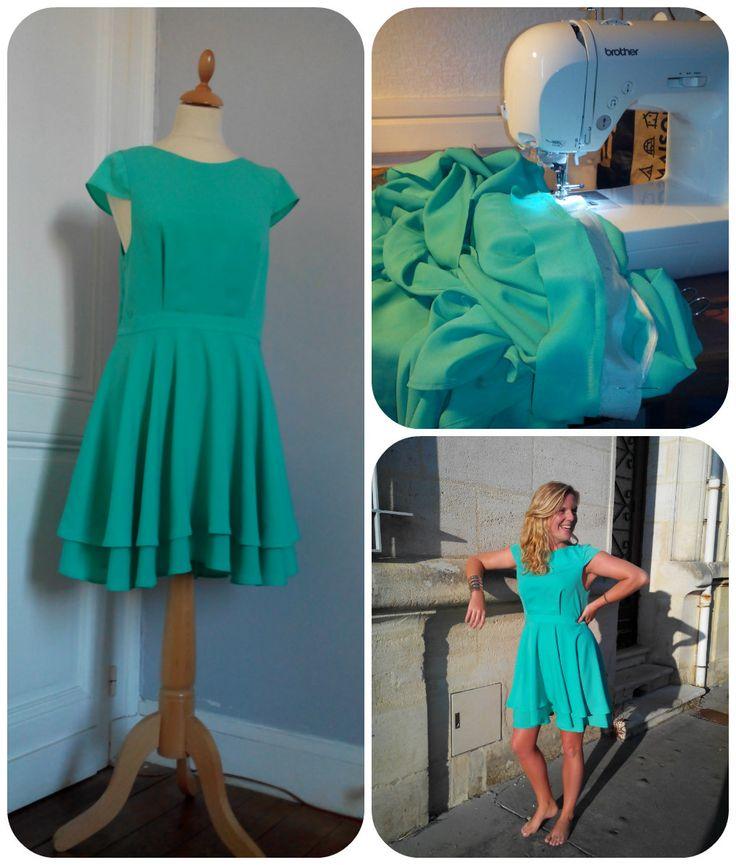 Couture/ ROBE SUR-MESURE en crèpe de polyester / Dress made for wedding