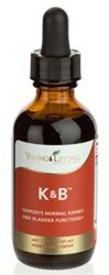 K & B | Young Living Essential Oils  K & B™ is formulated to nutritionally support normal kidney and bladder health.* It contains extracts of juniper berries, which enhance the body's efforts to maintain proper fluid balance; parsley, which supports kidney and bladder function and aids overall urinary health; and urva ursi, which supports both urinary and digestive system health. K & B is enhanced with therapeutic-grade essential oils.  www.EliteEssentialOils.com 1.8 fl oz $39.14