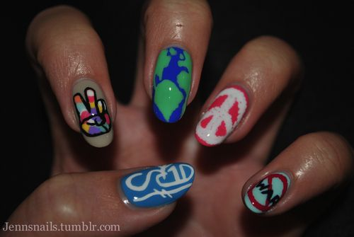 This week is Peace Week and International Peace Day is the 21st, so I decided to show my support by rockin peace nails all week. .