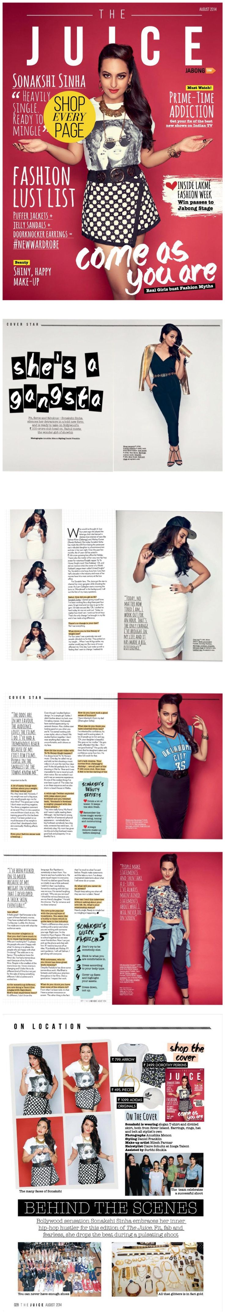 Sonakshi Sinha going gangsta for The Juice Magazine this month.