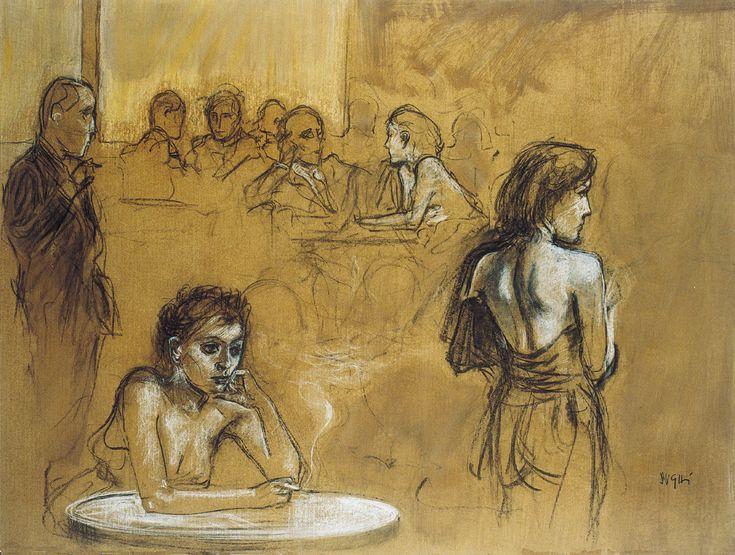 ALBERTO SUGHI - La gente del bar, 2005 Opera su carta applicata su tela