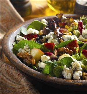 Apple Blue Cheese Tossed Salad : Looking for a crisp, light and flavorful salad? You've found the one! It features apples, Stella® Blue cheese and walnuts. Dressed in a honey mustard vinaigrette. Mmm!