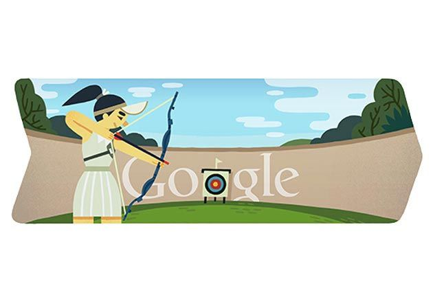 London 2012 archery doodle: It was the second Google doodle posted during the London 2012 Olympics, which shows a female archer taking aim at a bullseye, the target is strategically placed over the middle 'o' on the Google logo painted on the wall.
