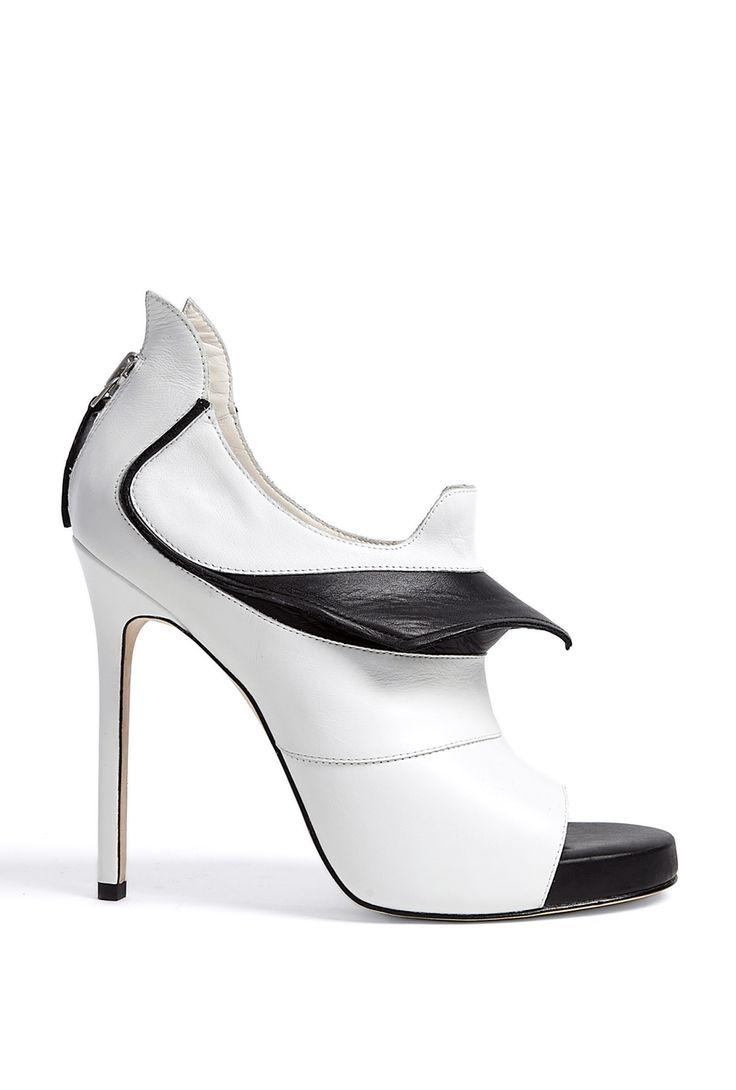 Monochrome Prey Open Toe Stiletto Booties by Camilla Skovgaa