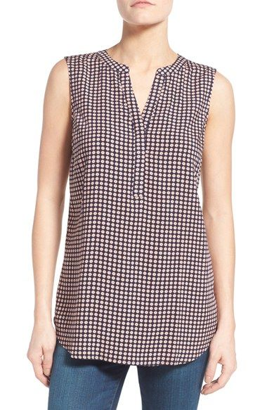 Free shipping and returns on Sandra Split Neck Sleeveless Tunic (Regular & Petite) at Nordstrom.com. A selection of new colors and prints refreshes a lightweight challis tunic cut in a breezy high/low silhouette with a split neckline.