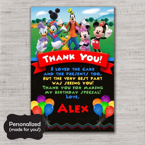 Mickey Mouse Thank You Card,Mickey TY Card,Mickey Mouse Thank You Card,Printed TY Card,Mickey Mouse Clubhouse,MLM74