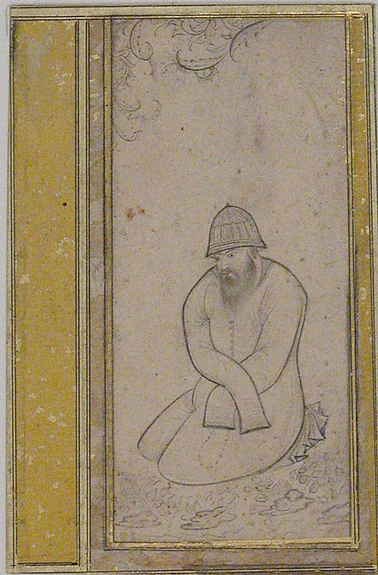 Seated Dervish Date: late 16th century Geography: Iran Medium: Ink and watercolor on paper Dimensions: H. 3 1/2 in. (8.9 cm) W. 1 5/8 in. (4.1 cm) Metropolitan Museum of Art 45.174.12