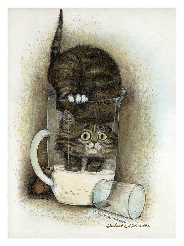 Добрым утром, прикольные рисунки коты кошки